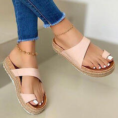 Women's PU Flat Heel Sandals Platform Peep Toe Slippers Toe Ring With Hollow-out Splice Color shoes