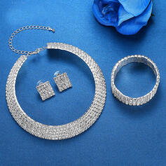 Shining Alloy Rhinestones Jewelry Sets Necklaces Earrings Bracelets (Set of 3)