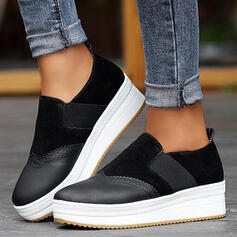 Women's PU Flat Heel Flats Platform Low Top Round Toe Slip On With Elastic Band Splice Color shoes