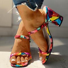 Women's PU Chunky Heel Sandals Pumps Peep Toe Slippers Heels With Animal Print shoes