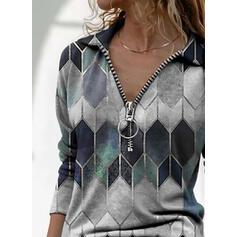 Geometric Print Lapel Long Sleeves Casual Blouses