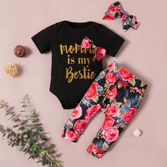 3-pieces Baby Letter Bow Floral Print Cotton Set