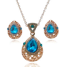 Vintage Elegant Alloy Rhinestones Glass Jewelry Sets Necklaces Earrings (Set of 3)