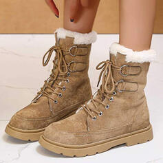Women's PU Flat Heel Ankle Boots Martin Boots Round Toe Winter Boots With Buckle Lace-up shoes