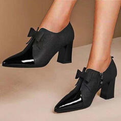 Women's PU Chunky Heel Pumps Heels With Bowknot Solid Color shoes