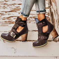 Women's PU Chunky Heel Pumps Closed Toe Boots Martin Boots With Rivet Buckle shoes