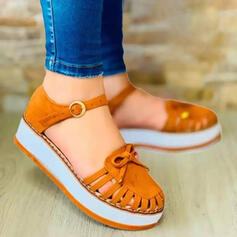 Women's Suede Flat Heel Flats Round Toe Loafers & Slip-Ons With Bowknot Buckle Hollow-out Solid Color shoes