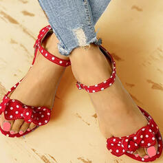 Women's Cloth Flat Heel Sandals Flats Peep Toe With Bowknot shoes