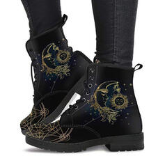 Women's PU Chunky Heel Martin Boots With Lace-up Embroidery shoes