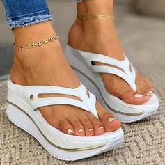 Women's PU Wedge Heel Sandals Flip-Flops Slippers With Hollow-out Solid Color shoes