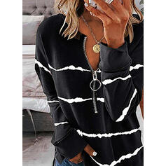 Print V-Neck Long Sleeves Sweatshirt