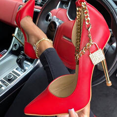 Women's PU Stiletto Heel Pumps With Rhinestone Chain Hollow-out Solid Color shoes