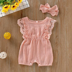 2-pieces Baby Girl Bowknot Solid Set