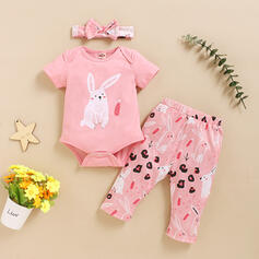 3-pieces Baby Girl Cartoon Rabbit Print Cotton Set