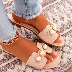Women's PU Flat Heel Sandals Flats Peep Toe Slippers Round Toe With Imitation Pearl Solid Color shoes