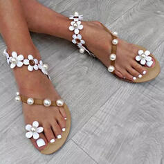 Women's PU Flat Heel Sandals Flats Peep Toe Toe Ring With Imitation Pearl Flower shoes