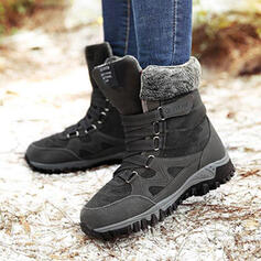 Women's Suede Flat Heel Mid-Calf Boots Snow Boots Round Toe With Lace-up shoes