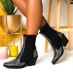 Women's PU Chunky Heel Mid-Calf Boots Pointed Toe With Rhinestone Splice Color shoes