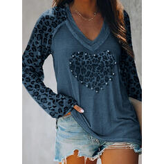 Leopard Beaded V-Neck Long Sleeves Casual T-shirts