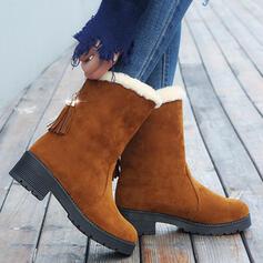Women's Cloth Platform Boots With Tassel Faux-Fur Colorblock shoes