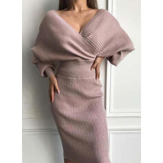 Solid Long Sleeves Bodycon Knee Length Little Black/Elegant Sweater Dresses