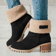 Women's Suede Chunky Heel Ankle Boots Snow Boots Round Toe Winter Boots With Splice Color Breathable shoes