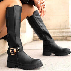 Women's Leatherette Chunky Heel Boots Martin Boots Winter Boots With Buckle Zipper Solid Color shoes