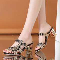 Women's PVC Chunky Heel Sandals Peep Toe Slippers With Rhinestone shoes
