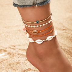 Charming Artistic Romantic Layered Alloy With Shell Anklets 5 PCS