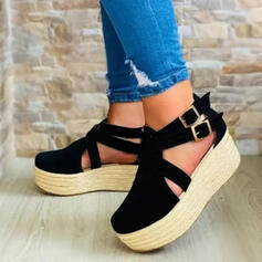 Women's Suede Espadrille Heel Flats Round Toe With Buckle shoes
