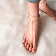 Simple Link & Chain Layered Anklets 2 PCS