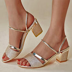 Women's PU Chunky Heel Sandals Pumps With Sequin Hollow-out shoes