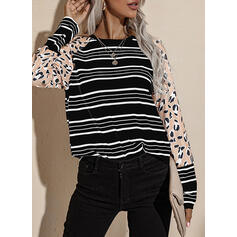 Leopard Print Striped Round Neck Long Sleeves T-shirts