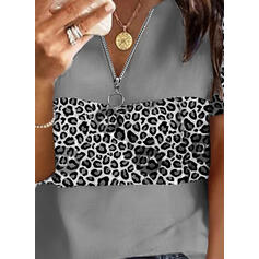 Leopard V-Neck Short Sleeves Casual Blouses