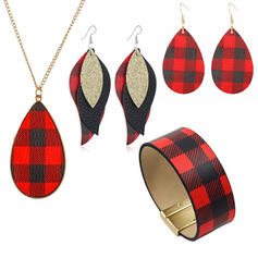 Christmas Plaid Alloy Women's Ladies' Girl's Necklaces Earrings Bracelets Christmas Jewelry 6 PCS