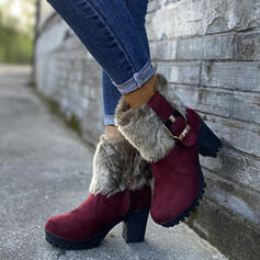 Women's PU Chunky Heel Mid-Calf Boots Round Toe With Buckle Faux-Fur shoes