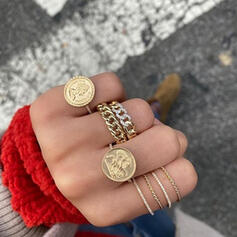 Vintage Alloy With Coin Rings 6 PCS