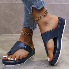 Women's PU Wedge Heel Sandals Peep Toe Flip-Flops Slippers With Solid Color shoes