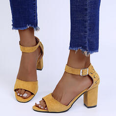 Women's Suede Chunky Heel Sandals Heels Pointed Toe With Buckle shoes