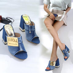 Women's Denim Chunky Heel Sandals Flats Pumps Peep Toe Heels Round Toe With Jewelry Heel Patchwork shoes