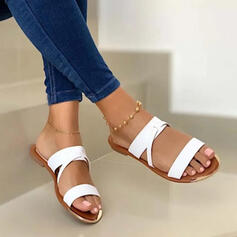 Women's Leatherette Flat Heel Sandals Peep Toe Slippers With Hollow-out Solid Color shoes