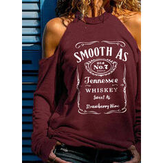 Print Letter Cold Shoulder Long Sleeves Casual Sexy Blouses