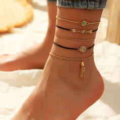 Fancy Layered Metal With Tassels Imitation Stones Anklets 5 PCS