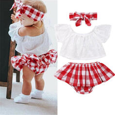 3-pieces Baby Girl Plaid Set