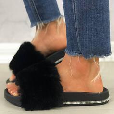 Women's Leatherette Sparkling Glitter Flat Heel Sandals Platform Peep Toe Slippers With Rhinestone Faux-Fur shoes