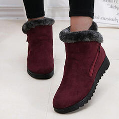 Women's Suede Flat Heel Ankle Boots Snow Boots Round Toe With Zipper Faux-Fur Solid Color shoes