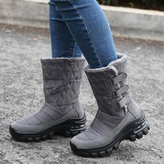 Women's Microfiber Flat Heel Mid-Calf Boots Snow Boots Round Toe With Velcro Solid Color shoes