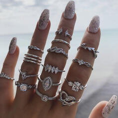 Stylish Vintage Alloy With Rhinestones Rings (Set of 15)