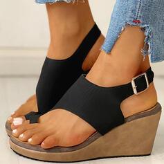 Women's PU Wedge Heel Sandals Wedges Peep Toe Toe Ring Heels With Buckle shoes
