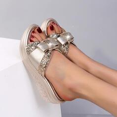 Women's Leatherette Wedge Heel Sandals Platform Wedges Peep Toe Slippers Heels With Bowknot shoes